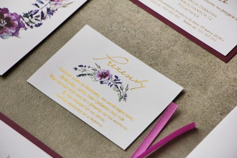 Bilecik prezenty ślubne wesele - Cykade nr 9 ze złoceniem - Delikatne fioletowe kwiaty
