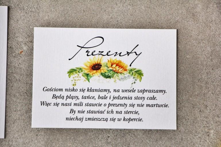 Bilecik do zaproszenia 105 x 74 mm prezenty ślubne wesele - Pistacjowe nr 13 - Letnie słoneczniki z polną trawą