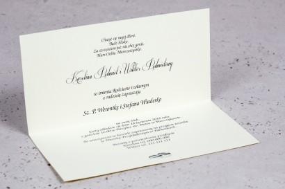 Wnętrze Zaproszenia ślubnego Moreno nr 4 - owinięte perłowo-fioletową owijką z bogato zdobionym ornamentem i cyrkonią