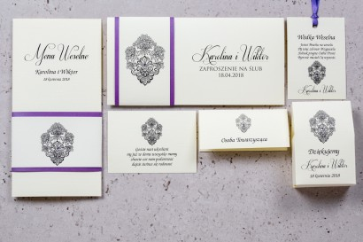 Zestaw próbny zaproszeń ślubnych Moreno nr 4 -  owinięte perłowo-fioletową owijką
