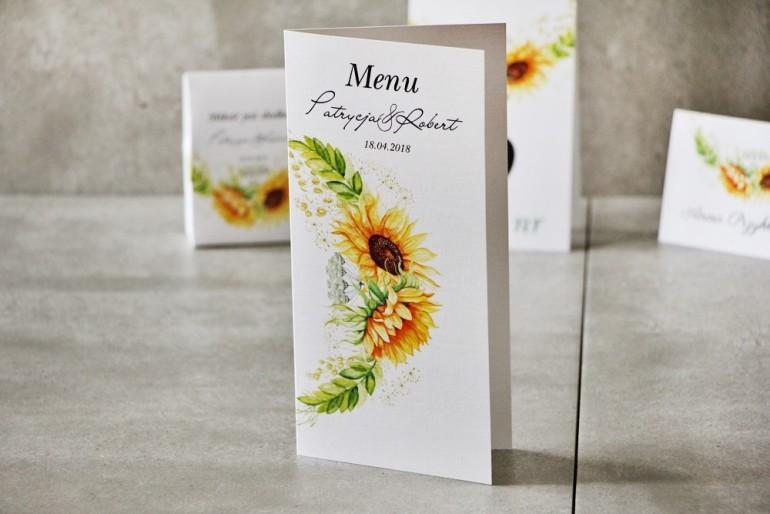 Menu weselne, ślub, stół weselny - Pistacjowe nr 13 - Letnie słoneczniki