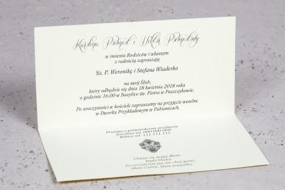 Wnętrze Zaproszenia ślubnego Moreno nr 6 - owinięte perłowo-brązową owijką z bogato zdobionym ornamentem i cyrkonią