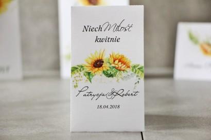 Podziękowania dla Gości weselnych - Nasiona Niezapominajki - Pistacjowe nr 13 - Letnie słoneczniki.