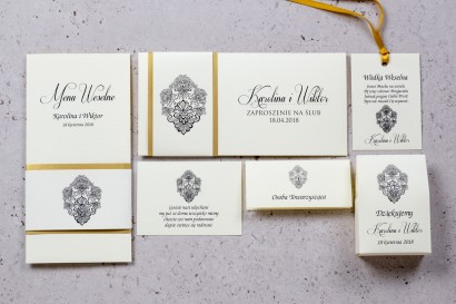 Zestaw próbny zaproszeń ślubnych Moreno nr 1 -  owinięte perłowo-złotą owijką