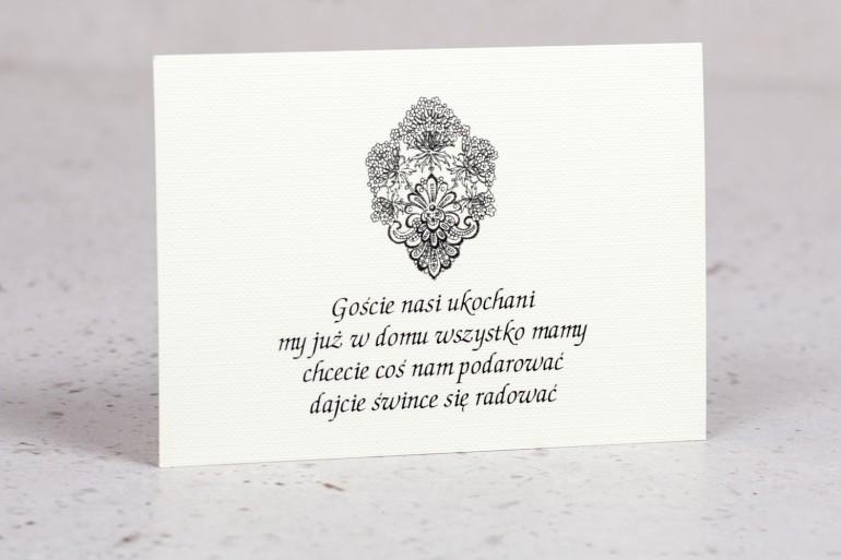 Bilecik do zaproszeń ślubnych z kolekcji Moreno nr 1 - klasyczny wzór z ornamentem