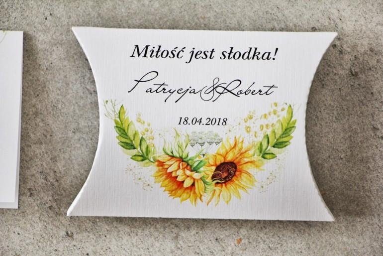 Pudełeczko poduszeczka na cukierki, podziękowania dla Gości weselnych - Pistacjowe nr 13 - Letnie słoneczniki
