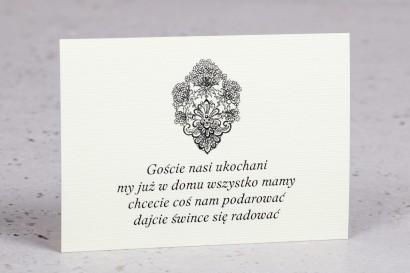 Bilecik do zaproszeń ślubnych z kolekcji Moreno nr 3 - klasyczny wzór z ornamentem