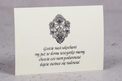Bilecik do zaproszeń ślubnych z kolekcji Moreno nr 4 - klasyczny wzór z ornamentem