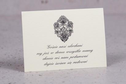 Bilecik do zaproszeń ślubnych z kolekcji Moreno nr 8 - klasyczny wzór z ornamentem
