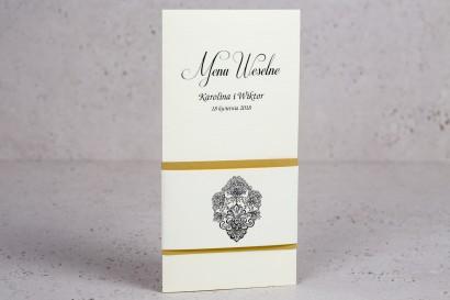 Ślubne menu z kolekcji Moreno nr 1 - Eleganckie menu ślubne owinięte perłowo-złotą owijką