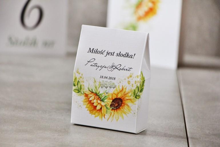 Pudełeczko stojące na cukierki, podziękowania dla Gości weselnych - Pistacjowe nr 13 - Letnie słoneczniki