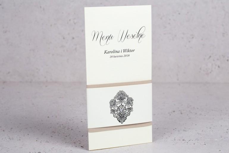 Ślubne menu z kolekcji Moreno nr 3 - Eleganckie menu ślubne owinięte perłowo-kremową owijką