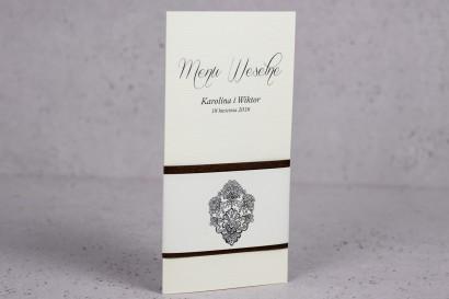 Ślubne menu z kolekcji Moreno nr 6 - Eleganckie menu ślubne owinięte perłowo-brązową owijką