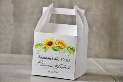 Pudełko na ciasto kwadratowe, tort weselny - Pistacjowe nr 13 - Letnie słoneczniki