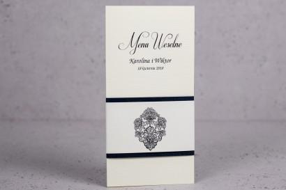 Ślubne menu z kolekcji Moreno nr 8 - Eleganckie menu ślubne owinięte perłowo-granatową owijką