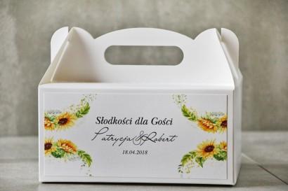 Prostokątne pudełko na ciasto, tort weselny, Ślub - Pistacjowe nr 13 - Letnie słoneczniki z polną trawą