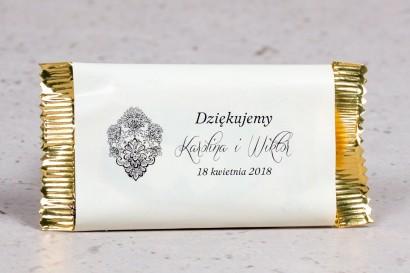 Ślubna czekoladka jako podziękowanie dla gości weselnych z kolekcji Moreno nr 8