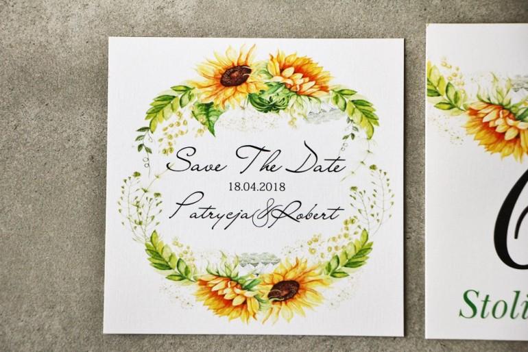 Bilecik Save The Date do zaproszenia - Pistacjowe nr 13 - Letnie słoneczniki