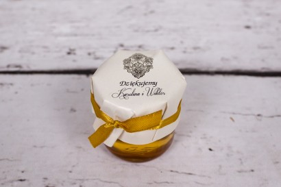 Słoiczek z miodem - słodki upominek dla gości weselnych - Moreno nr 1