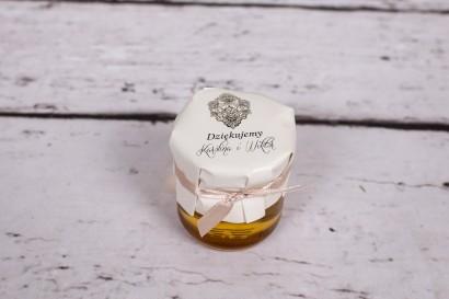 Słoiczek z miodem - słodki upominek dla gości weselnych - Moreno nr 3