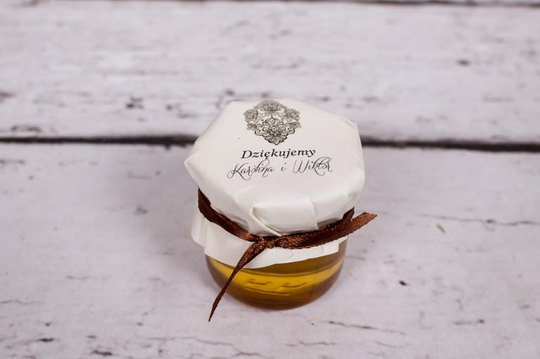 Słoiczek z miodem - słodki upominek dla gości weselnych - Moreno nr 6