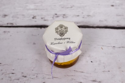 Słoiczek z miodem - słodki upominek dla gości weselnych - Moreno nr 7