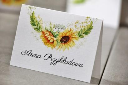 Winietki na stół weselny, ślub - Pistacjowe nr 13 - Letnie słoneczniki z polną trawą
