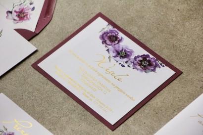 Bilecik dwuwarstwowy prezenty ślubne wesele - Cykade nr 9 ze złoceniem - Fioletowe kwiaty