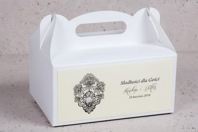 Ślubne pudełko prostokątne na Ciasto Weselne z kolekcji Moreno nr 8