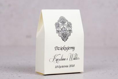 Ślubne pudełeczko na słodkości dla gości weselnych z kolekcji Moreno nr 1