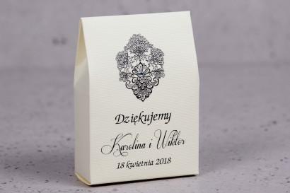 Ślubne pudełeczko na słodkości dla gości weselnych z kolekcji Moreno nr 4