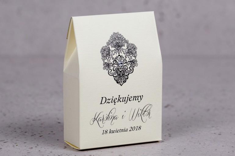 Ślubne pudełeczko na słodkości dla gości weselnych z kolekcji Moreno nr 6