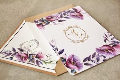 Zaproszenia ślubne ze złoceniem - Sorento nr 15 - Zaproszenia z fioletowymi makami i lawendą