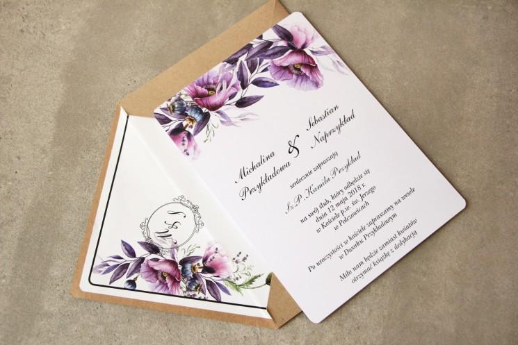 Zaproszenia ślubne ze złoceniem - Sorento nr 15 - Zaproszenia z fioletowymi makami i lawendą w purpurowych odcieniach