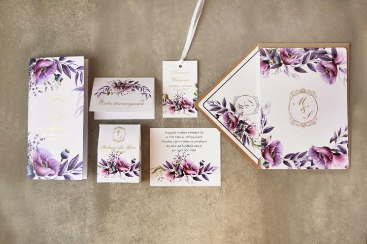 Zestaw próbny zaproszeń ślubnych z kolekcji Sorento nr 15 - Zaproszenia z fioletowymi makami i lawendą