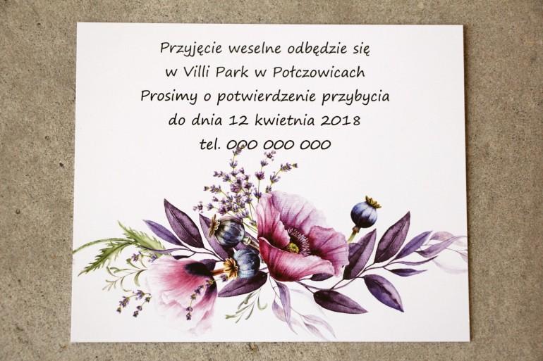 Bilecik do zaproszenia 105 x 74 mm prezenty ślubne wesele - Sorento nr 15 - Zaproszenia z fioletowymi makami i lawendą