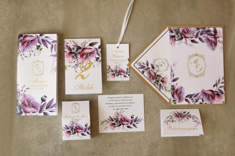 Zestaw próbny zaproszeń ślubnych z kolekcji Sorento nr 15 - z fioletowymi makami i lawendą