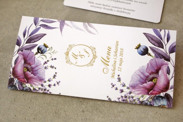 Menu weselne, stół weselny - Sorento nr 15 - z fioletowymi makami i lawendą