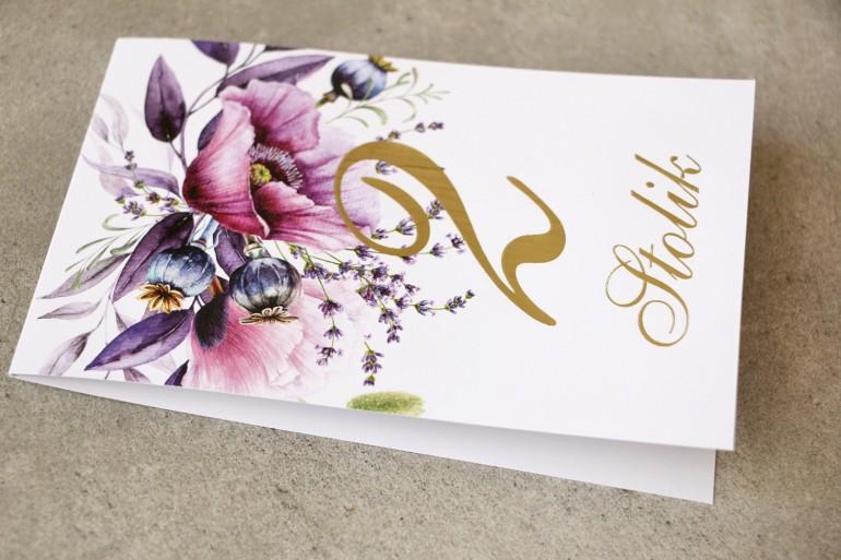 Numery stolików ze złoceniem, stół weselny, ślub - Sorento ne 15 - Z fioletowymi makami i lawendą