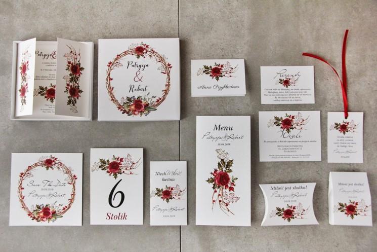 Efektowne zaproszenie ślubne w pudełku z dodatkami - Pistacjowe 14 - Zimowo-świąteczny wianek