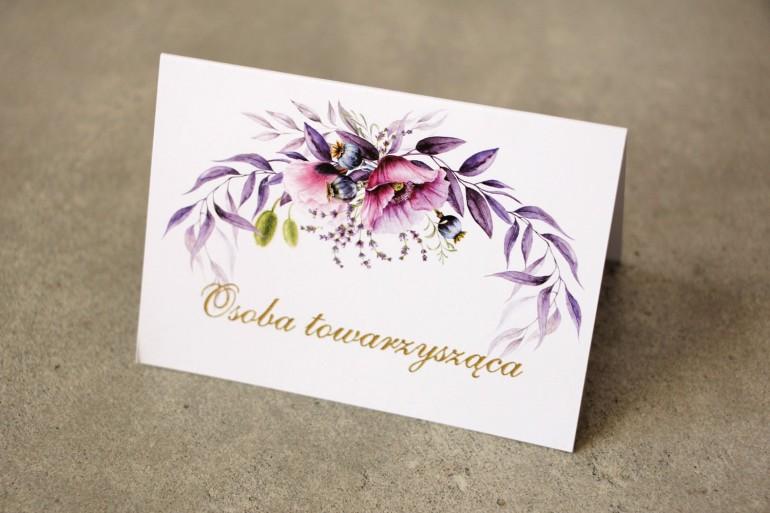 Winietki na stół weselny, ślub - Sorento nr 15 -  z fioletowymi makami i lawendą, w purpurowych odcieniach