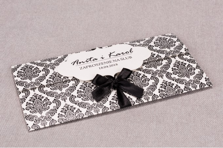 Zaproszenia ślubne Madras nr 1 - Zaproszenie wiązane kokardką w eleganckim stylu