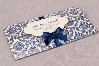 Zaproszenia ślubne Madras nr 2 - Eleganckie zaproszenie wiązane chabrową kokardą