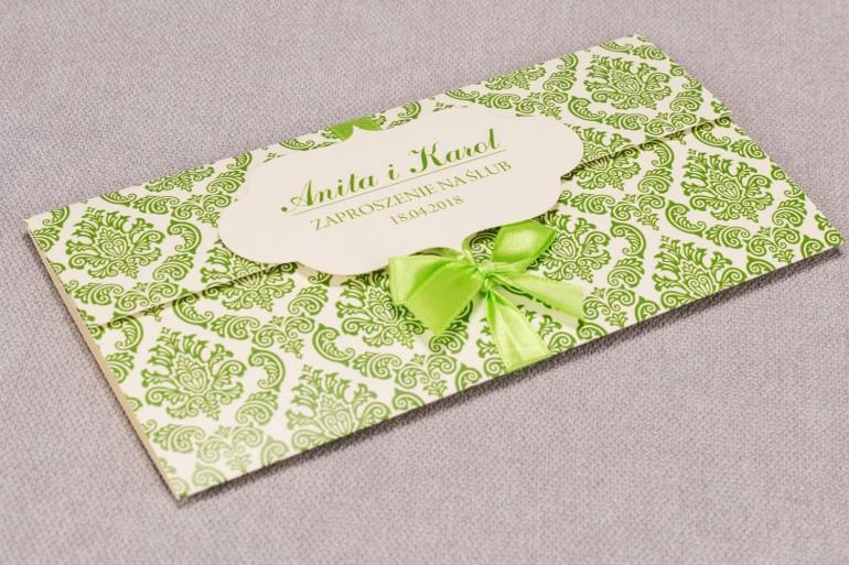 Zaproszenia ślubne Madras nr 3 - Zaproszenie wiązane kokardką w eleganckim stylu