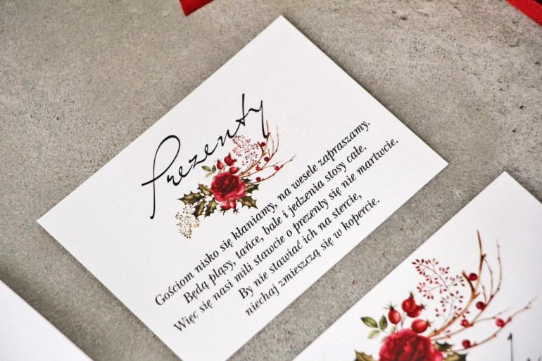 Bilecik do zaproszenia 105 x 74 mm prezenty ślubne wesele - Pistacjowe nr 14 - Zimowo-świąteczna kompozycja