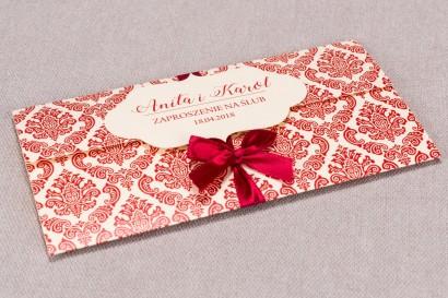 Zaproszenia ślubne Madras nr 5 - Zaproszenie wiązane kokardką w eleganckim stylu