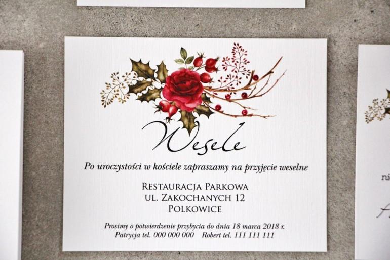 Bilecik do zaproszenia 120 x 98 mm prezenty ślubne wesele - Pistacjowe nr 14 - zimowo-świąteczna kompozycja.