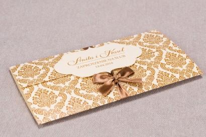 Zaproszenia ślubne Madras nr 7 - Zaproszenie wiązane kokardką w eleganckim stylu