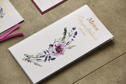 Menu weselne, stół weselny - Cykade nr 9 ze złoceniem - Fioletowe polne kwiaty.