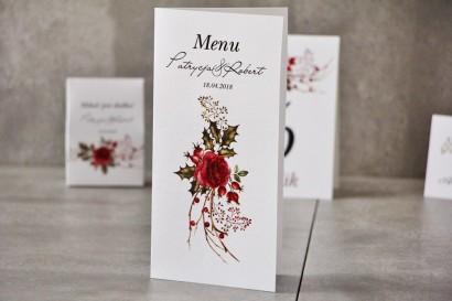 Menu weselne, ślub, stół weselny - Pistacjowe nr 14 - Zimowo-świąteczny bukiet